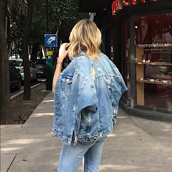 Zara Oversize Ripped Jean Jacket